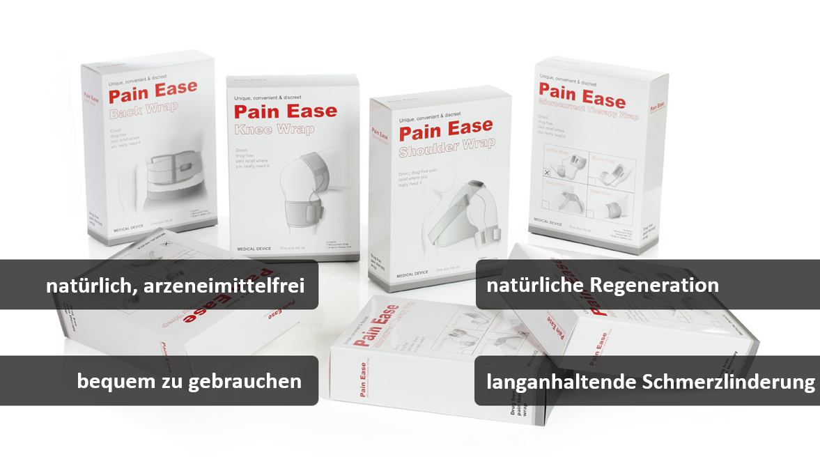 Several packages of Pain Ease Wraps with subtitles: 1. all natural, drug-free, 2. convenient to use, 3. natural regeneration, 4. long-lasting pain relief
